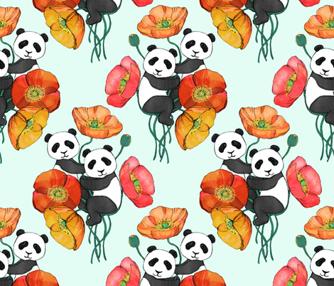 Poppies and Pandas on Mint fabric by micklyn on Spoonflower - custom fabric