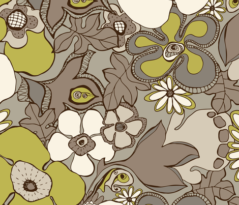 Floral Doodles in in taupe beige olive fabric by delinda_graphic_studio on Spoonflower - custom fabric