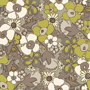 Floral Doodles in in taupe beige olive