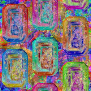 JEWELS RECTANGLES FLOWERY MULTICOLOR GARDEN PAVEMENT