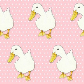 Duck Kiss on white dots pink