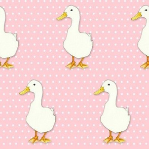 Duck Cool on white dots pink