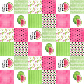 3 inch - one in a melon - Wholecloth cheater quilt - rotated