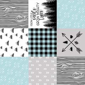 Mighty Trees - Salt Water - Wholecloth Cheater Quilt - Rotated