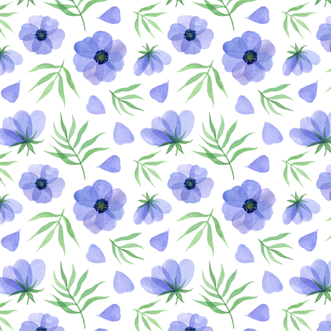 blue flowers fabric by alenaganzhela on Spoonflower - custom fabric