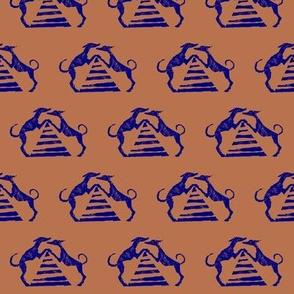 "Sighthound pyramid Blockprint-1.5"" - 2""martingale-Lapis on Sahara"