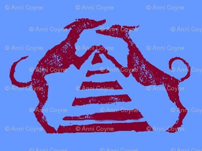 "Sighthound pyramid Blockprint-1.5""-Red on Blue"