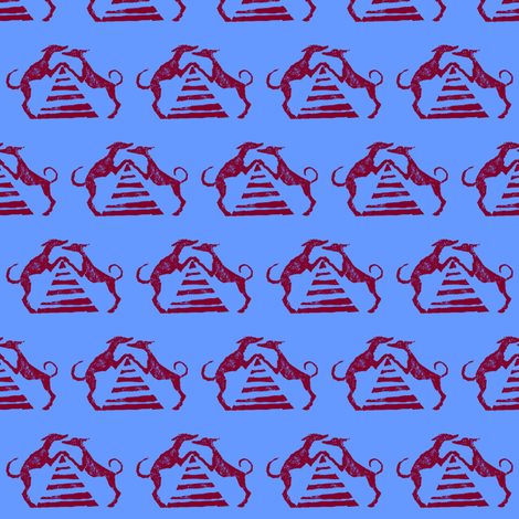 """Sighthound pyramid Blockprint-1.5""""-Red on Blue fabric by cloudsong_art on Spoonflower - custom fabric"""