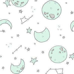 Sleepy Moons - Mint  // by Sweet Melody Designs