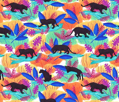 Large Scale Black Panthers fabric by landpenguin on Spoonflower - custom fabric