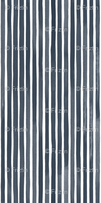 Vertical Watercolor Mini Stripes M+M Navy Black by Friztin