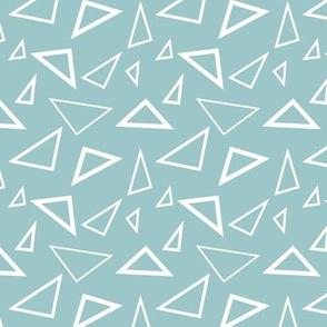 White Triangles on Marine Blue Sea Foam, Geometric Shapes, Angles