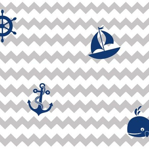Navy Blue Gray Nautical Boy Nursery
