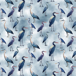 Blue Herons on Blue