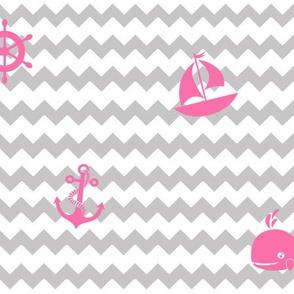 Pink Gray Chevron Nautical Girl Nursery