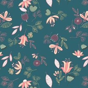 Dark Teal Whimsical Floral