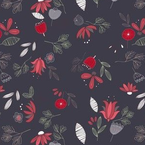 Dark Purple Whimsical Floral