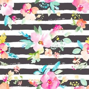 Gemma Watercolor Flowers with Stripes