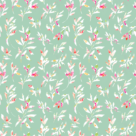 Gemma Leaves on Green fabric by angiemakes on Spoonflower - custom fabric