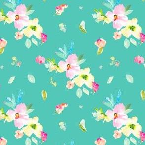 Gemma Florals Tossed on Teal
