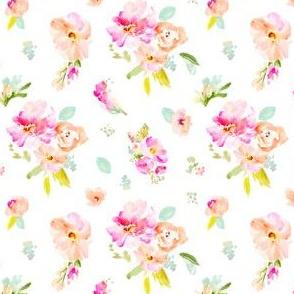 Gemma Florals Scattered on White