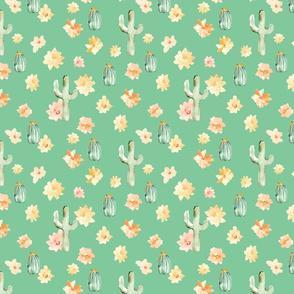 Arizona Cactus Flowers on Green