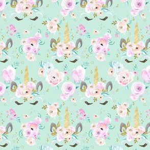 unicorn floral S - mint