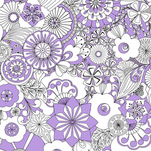 70s Flowers - Lilac and White