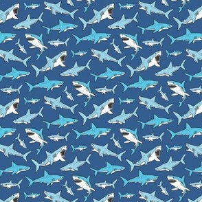 Sharks Shark Blue on Navy Blue Smaller 1,5 inch