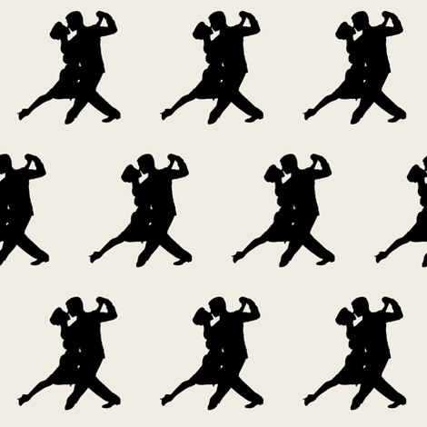 Tango Dancers on Off-white // Small fabric by thinlinetextiles on Spoonflower - custom fabric