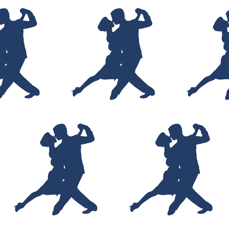 Navy Blue Tango Dancers  // Large fabric by thinlinetextiles on Spoonflower - custom fabric
