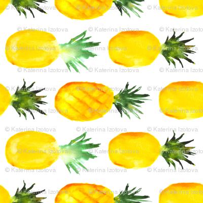 Pineapple love horizontal, watercolor tropical pattern