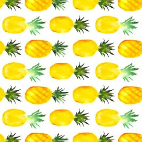 Pineapple love horizontal, watercolor tropical pattern