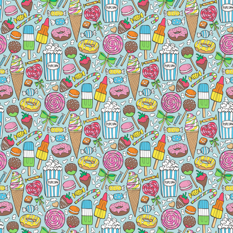 Sweets,Ice Cream,Donuts and Candy Smaller 1,5 inch fabric by caja_design on Spoonflower - custom fabric