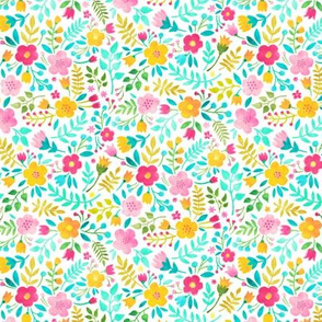 Watercolour Floral Doodle Pink Yellow Tiny Small