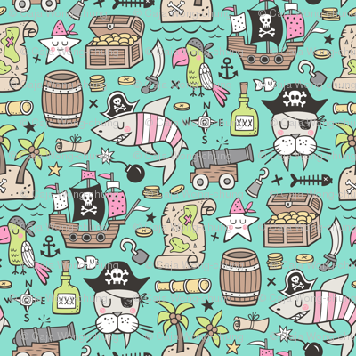 Pirate Sharks Nautical Ocean Adventure Doodle Pink on Mint Green