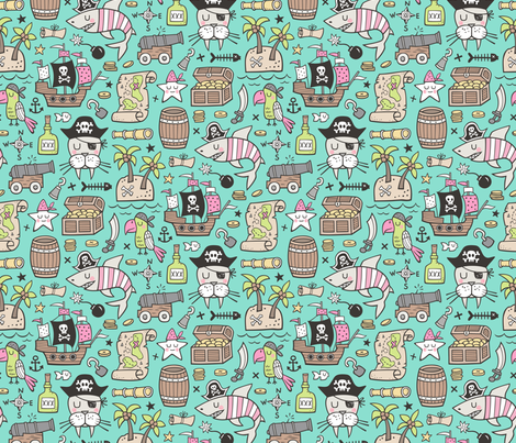 Pirate Sharks Nautical Ocean Adventure Doodle Pink on Mint Green fabric by caja_design on Spoonflower - custom fabric