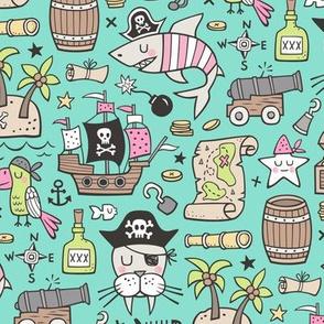 Pirate Sharks Nautical Ocean Adventure Doodle Pink on Mint Green