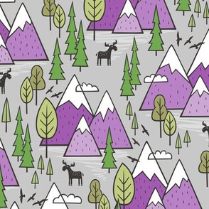 Mountains Forest Woodland Trees & Moose Purple on Grey
