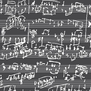 Hand Written Sheet Music on Charcoal // Large