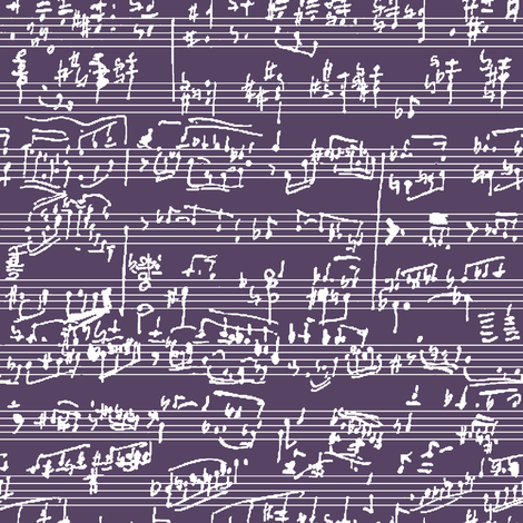 Hand Written Sheet Music on Honey Flower // Small fabric by thinlinetextiles on Spoonflower - custom fabric