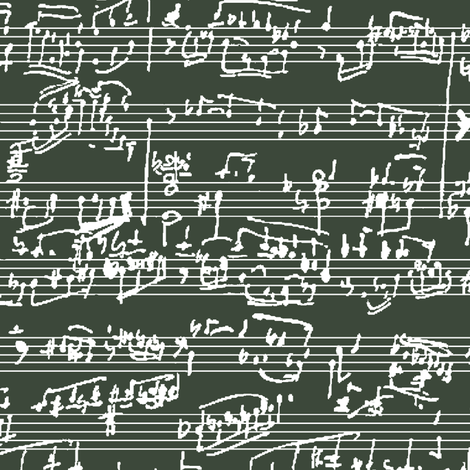 Hand Written Sheet Music on Timber Green // Large fabric by thinlinetextiles on Spoonflower - custom fabric
