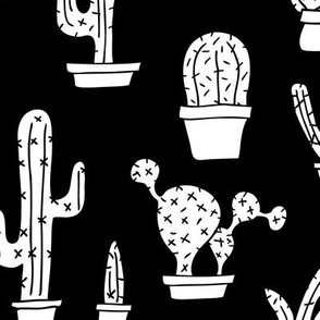 Black and white monochrome trendy summer cactus theme botanical garden gender neutral cacti and succulent garden botanical illustration print XL