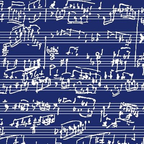Hand Written Sheet Music on Dark Blue // Large