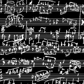 Hand Written Sheet Music on Black // Large