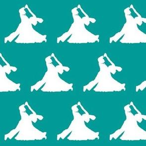 Ballroom Dancers on Teal // Small