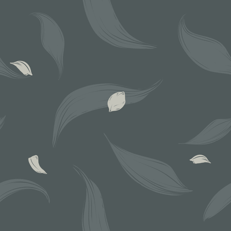 modern tulip foliage with flying petals fabric by marion-kamper on Spoonflower - custom fabric