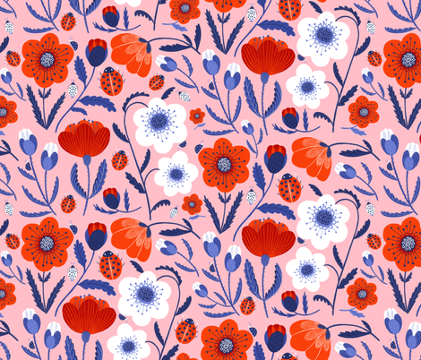 poppies and ladybugs fabric by wideeyedtree on Spoonflower - custom fabric