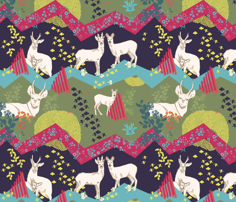 Patagonia - Huemul moonlight fabric by the_window_way on Spoonflower - custom fabric