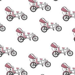 Fun bicycle rickshaw illustration india traffic bike print pink